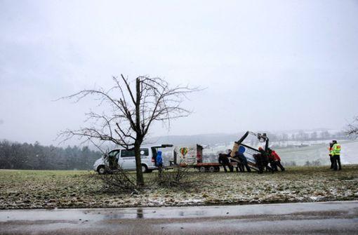 Heißluftballon bleibt nach Notlandung im Baum hängen