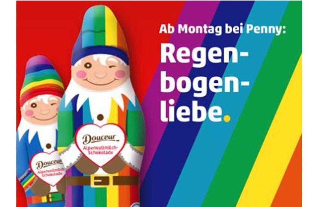 Ab Montag verkauft Penny Schoko-Zipfelmänner im Regenbogen-Outfit. Foto: Screenshoot Facebook Penny