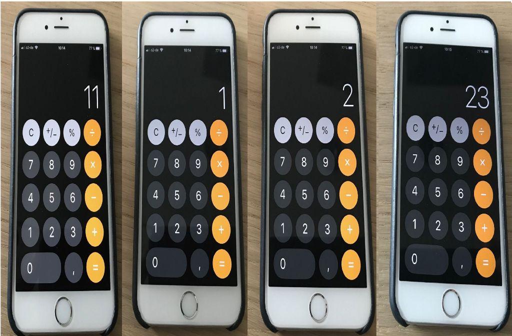 11+1+2=23? Nach dem neuesten iOS-Update bei Apple scheint der Kalkulator nicht mehr rechnen zu können. Foto: Freundorfer