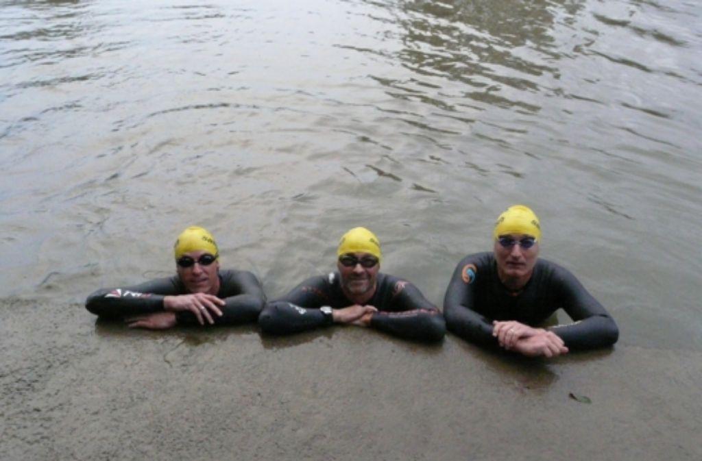 Volker Heyn, Martin Tschepe und Reiner Koch (von links nach rechts) haben die Idee zu dem Neckar-Marathon ausgeheckt. Foto: factum/Archiv