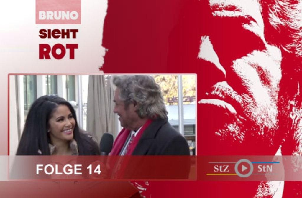 Die Dreharbeiten zu Folge 14 von Bruno sieht rot: Moderator Bruno Stickroth und Playmate Mia Gray sind die Königstraße entlang geschlendert - klicken Sie sich durch unsere Bildergalerie: Foto: SIR