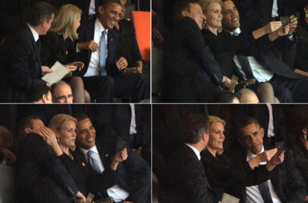 Ein Selfie bei der Trauerfeier von Nelson Mandela? David Cameron, Helle Thorning Schmidt und Barack Obama (von links)  haben kein Problem damit. Im Gegenteil. Foto: AFP