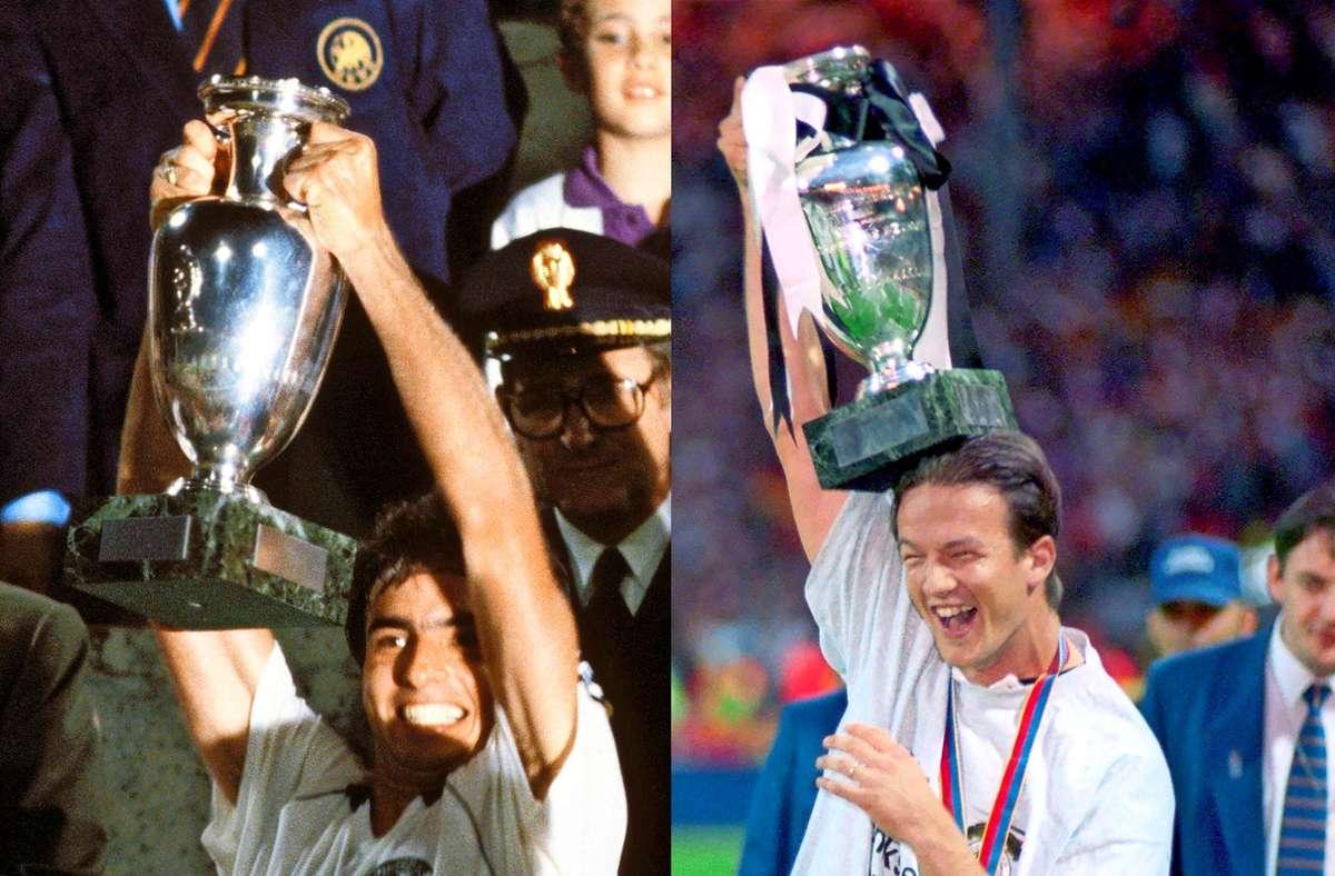 Zwei Europameister jubeln:  Hansi Müller (li.)  1980 im Rom, Fredi Bobic 1996 in London. Foto: dpa