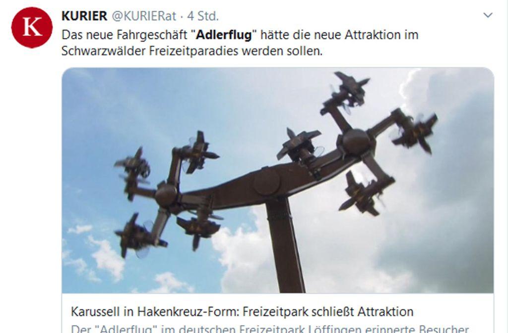 Der Kurier aus Österreich hat das Karussell in Hakenkreuz-Form ebenfalls thematisiert. Foto: Screenshot Twitter/Kurier.at