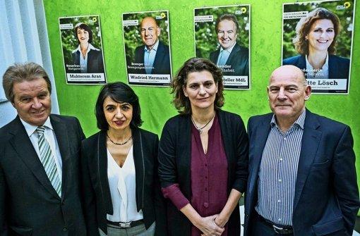 Vier selbstbewusste Grünen-Kandidaten: Franz Untersteller, Muhterem Aras, Brigitte Lösch und Winfried Hermann (von links) Foto: Lichtgut/Max Kovalenko