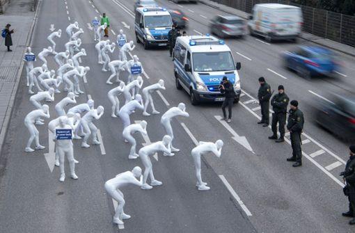 Protest auf B14 gegen Diesel-Abgase in Stuttgart