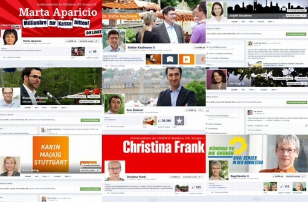 Die Facebook-Seiten der Kandidaten in den beiden Stuttgarter Wahlkreisen in der Übersicht. Foto: Screenshot StZ