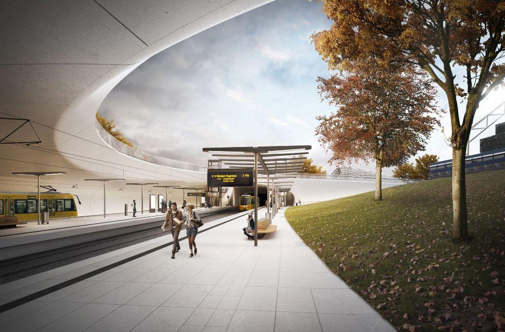 Die neue Haltstelle soll nicht mehr zur Gänze unterirdisch sein. Zur Orientierung: Rechts ist ein Teil des Planetariums zu erkennen. Foto: Ingenhoven Architekten