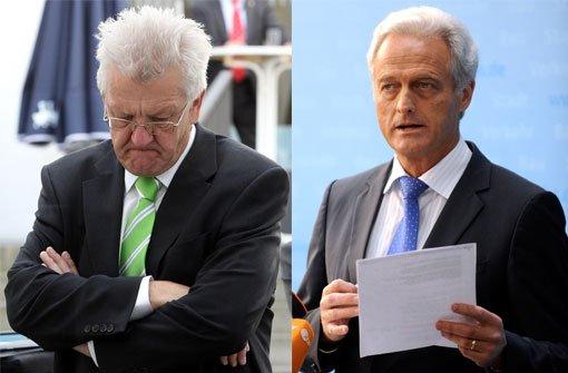 Winfried Kretschmann (Grüne) ist bei den Gesprächen mit Bundesverkehrsminister Peter Ramsauer (CSU) über eine Verlängerung des Baustopps auf Widerstand gestoßen. Foto: Montage dpa/dapd