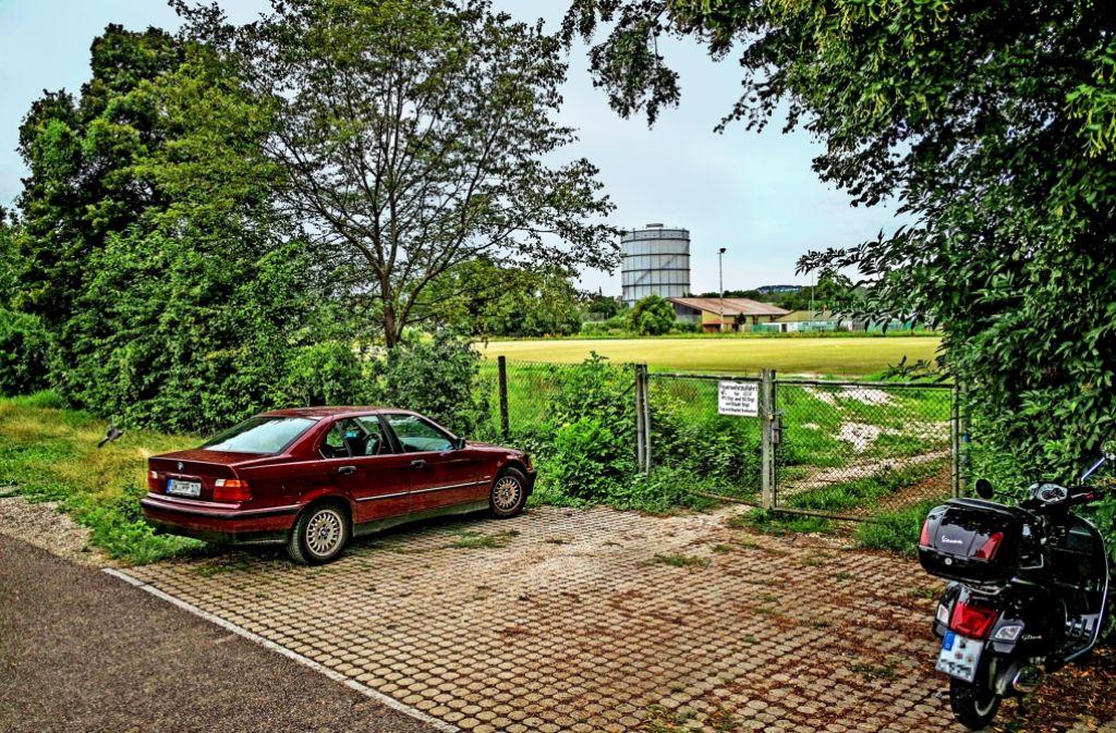 Vor dem Zaun wird schon geparkt – bald auch auf dem Sportplatz? Foto: Lichtgut/Max Kovalenko