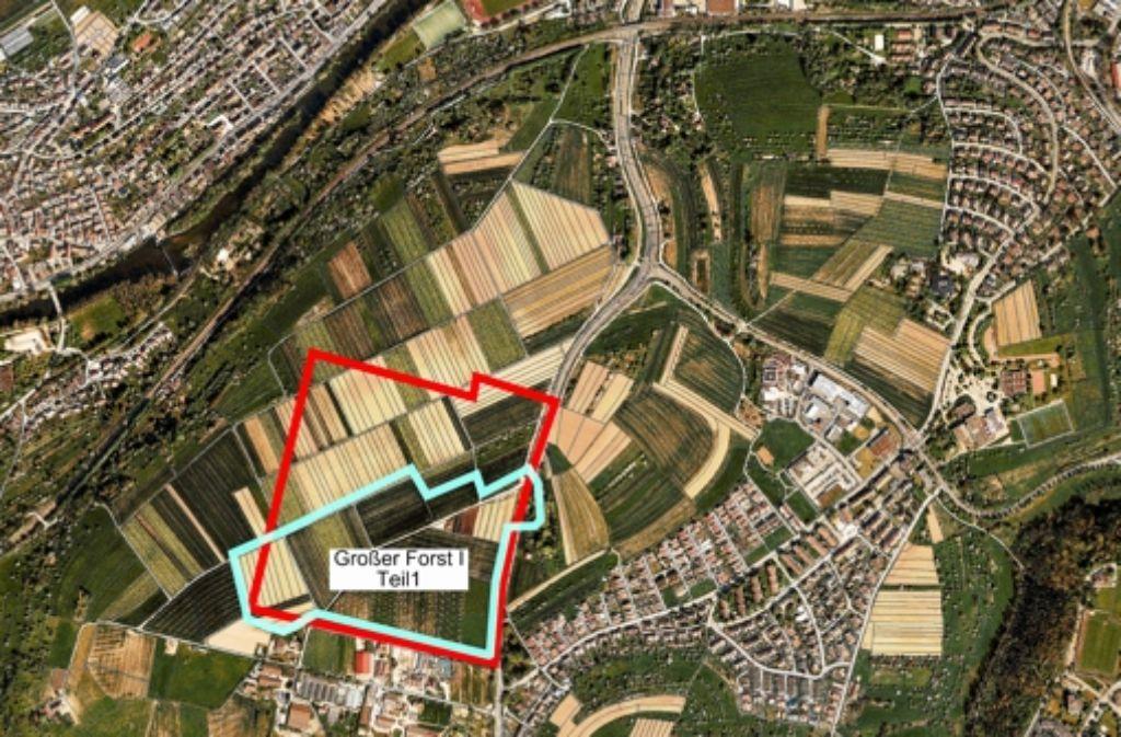 Das geplante Gewerbegebiet  Großer Forst gliedert sich in zwei Bauabschnitte. Der Abschnitt 1 umfasst 15 Hektar. Rechts im Bild ist die Enzenhardtsiedlung zu sehen. Foto: Landesamt für Geoinformation