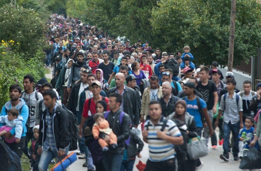 Flüchtlinge laufen im September 2015 auf einem Weg in Ungarn auf die Grenze Österreichs bei Hegyeshalom zu. Foto: dpa