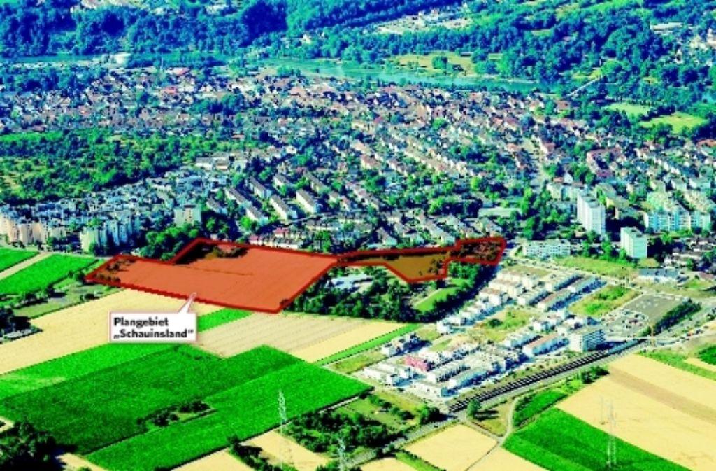 Das Neubaugebiet Schauinsland soll die bereits realisierten Neckarterassen (rechts unten) in Ludwigsburg ergänzen. Foto: Stadt  Ludwigsburg