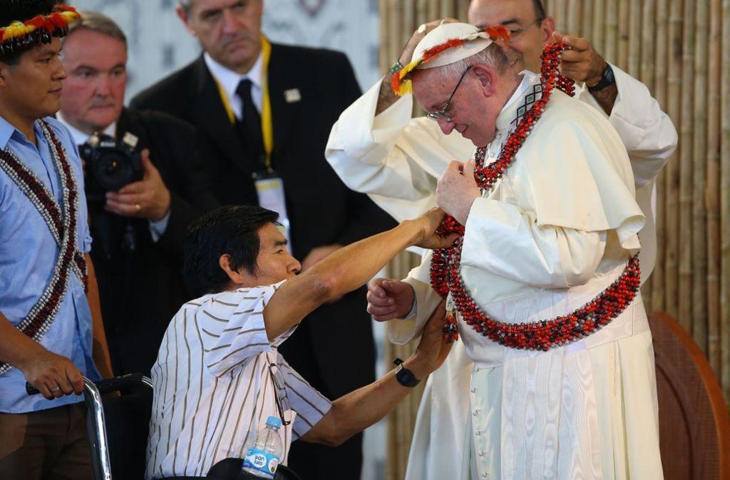 Papst Franziskus im peruanischen Puerto Maldonado. Foto: Agentur Andina/dpa