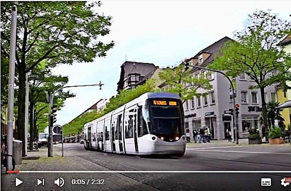 Im Video rollt die Bahn auch durch die Wilhelmstraße. Foto: Youtube/VCD-Ortsgruppe Ludwigsburg