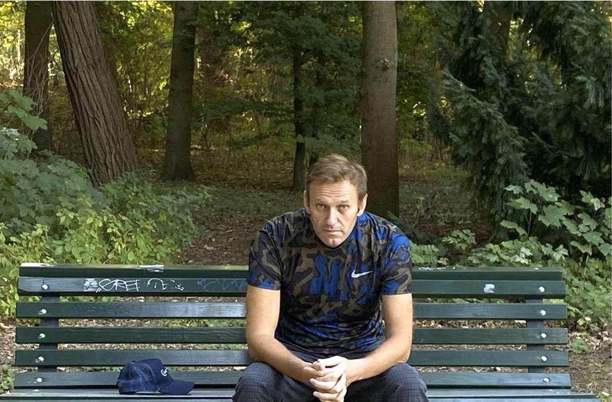 Dieses Foto, das der russische Oppositionsführer am Mittwoch, 23. September 2020 auf seinem Instagram-Account veröffentlicht hat, zeigt Alexej Nawalny auf einer Parkbank sitzen (Archivbild). Foto: dpa/Uncredited