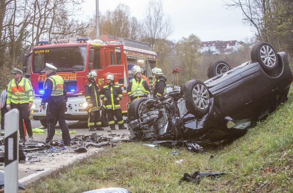 Auf der Landesstraße 1100 in Murr kam es am Donnerstag zu einem schweren Unfall. Foto: Oskar Eyb/7aktuell.de