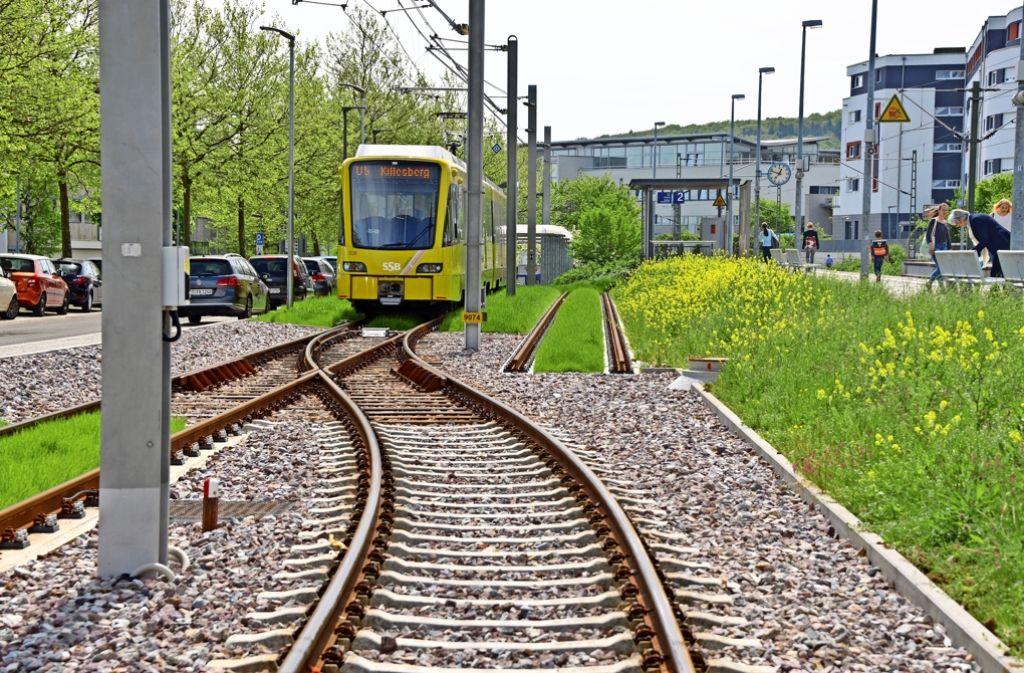 Am Bahnhof Leinfelden sind bereits Vorkehrungen für eine Verlängerung der Stadtbahn in Richtung Echterdingen getroffen. Foto: Norbert J. Leven