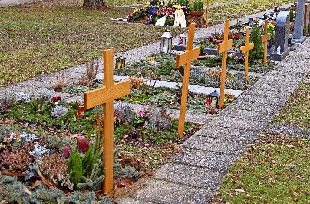 Bisher sind Verstorbene auf dem Friedhof in Reihen bestattet worden. Weil die Pflege für Angehörige aufwendig ist, gibt es ab April auch  Rasen- oder Baumgräber. Foto: Malte Klein