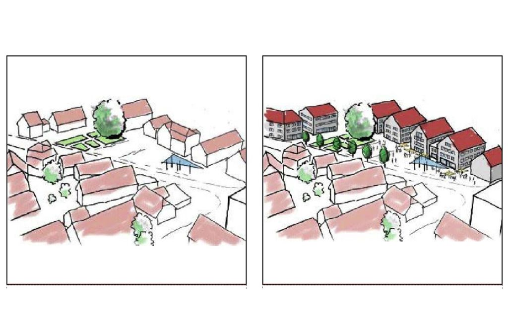 Der Ernst-Bauer-Platz, wie er jetzt ist (links) und wie er einmal aussehen könnte (rechts). Foto: Stadt Renningen
