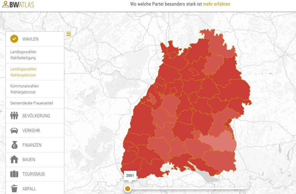 Der BW Atlas zeigt, wie sich Baden-Württemberg verändert hat Foto: Screenshot StZN