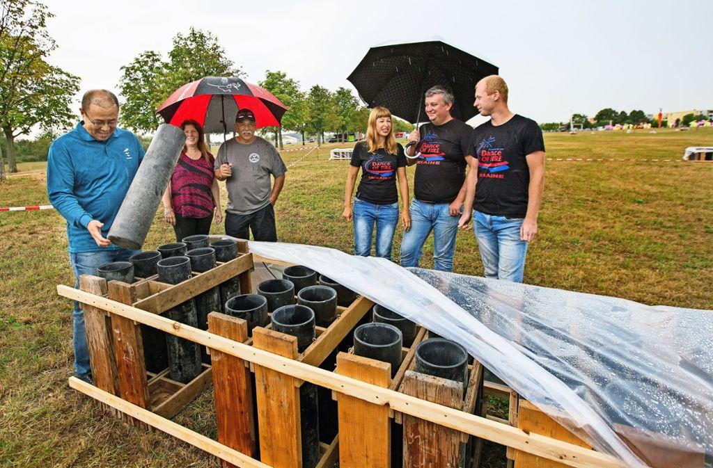 Noch schützen Folien die Munition in den Abschussrampen Foto: Horst Rudel
