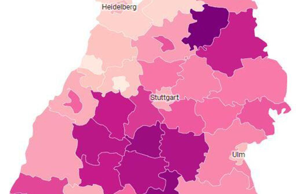 Südlich von Stuttgart sind mehr Menschen infiziert als im Landesschnitt. Foto: dpa/Sebastian Gollnow