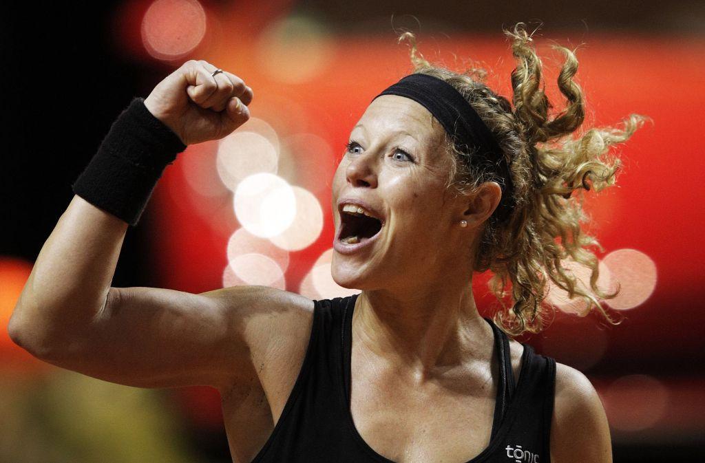 Freude bei Laura Siegemund in ihrem Match gegen die Chinesin Zhang Shuai. Foto: Bongarts