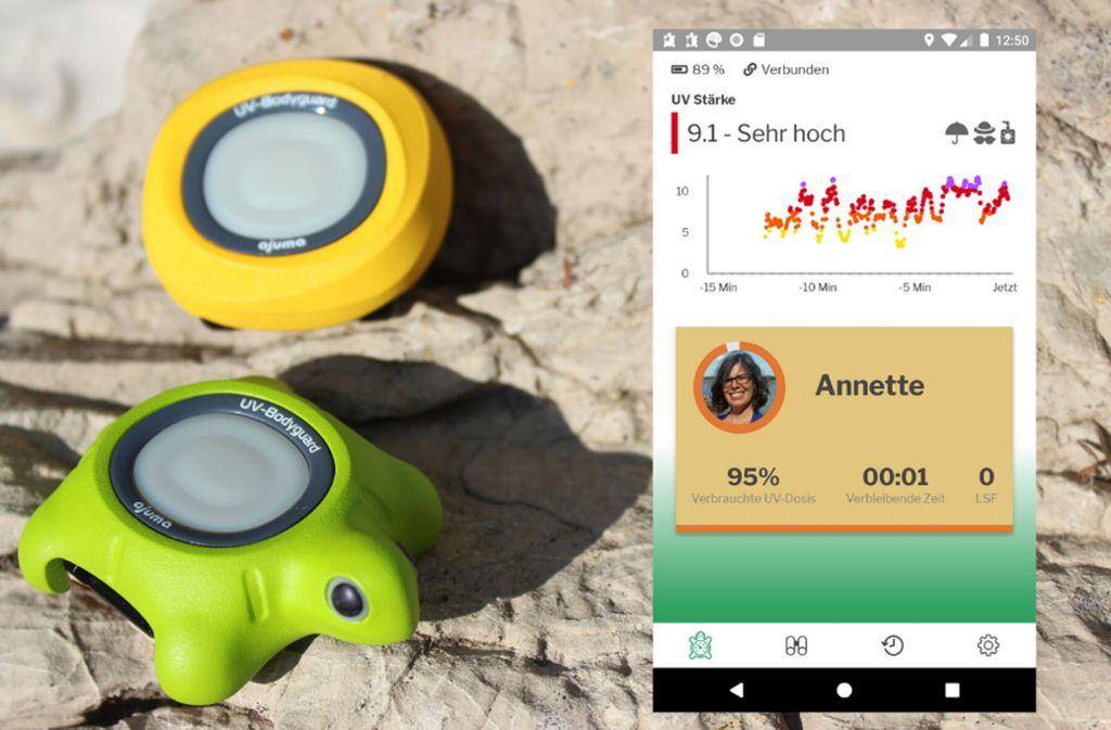 Der UV-Bodyguard misst die UV-Strahlung und sendet die Daten anschließend an die App auf Smartphone, wo nachverfolgt werden kann, wie viel Prozent der täglichen UV-Dosis bereits verbraucht wurde. Foto: Ajuma