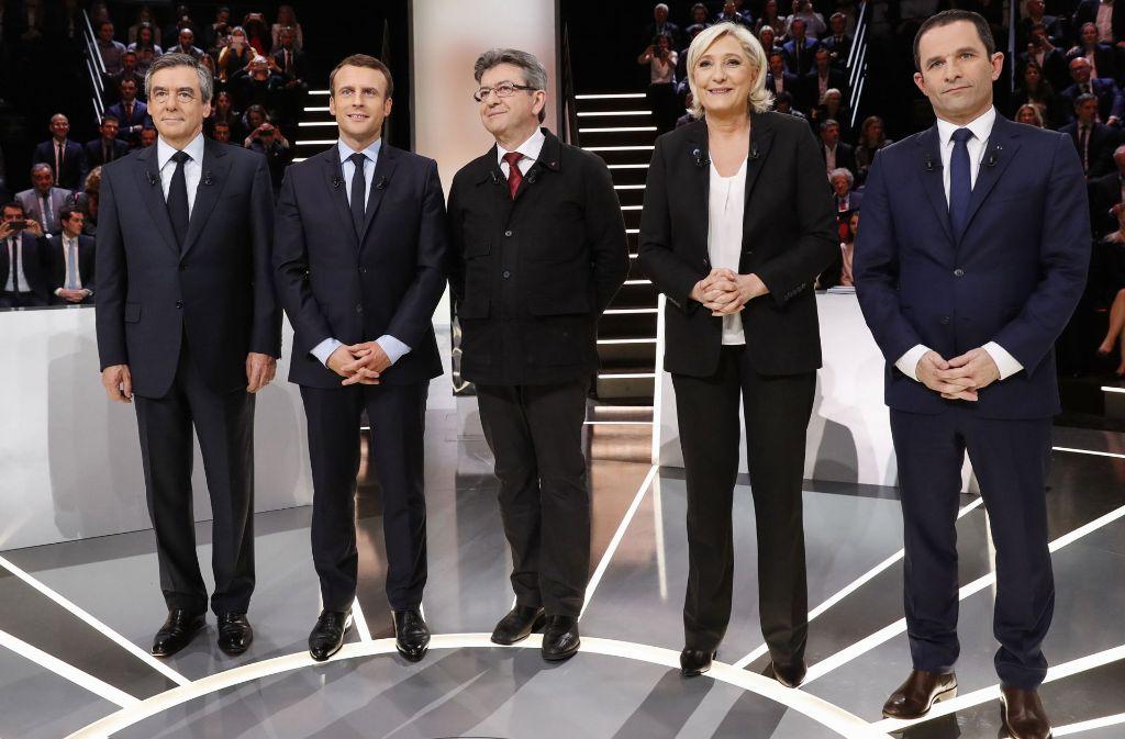 François Fillon, Emmanuel Macron, Jean-Luc-Mélenchon, Marine Le Pen und Benoît Hamon (v.l.n.r.). Foto: AFP POOL