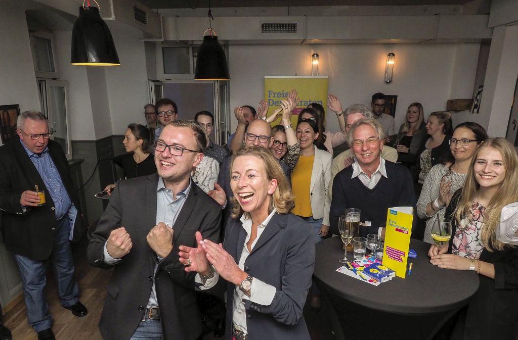 Stefanie Knecht feiert das starke Wahlergebnis der FDP. Foto: factum/Weise
