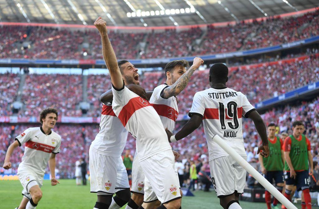 Der Höhepunkt zum Schluss: Jubel über den Stuttgarter Auswärtssieg in München Foto: dpa