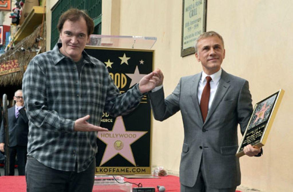 Christoph Waltz (rechts) gehört längst zur A-Riege Hollywoods. Jetzt hat er auch einen Stern auf dem Walk of Fame. Sein Weggefährte Quentin Tarantino freut sich. Foto: dpa