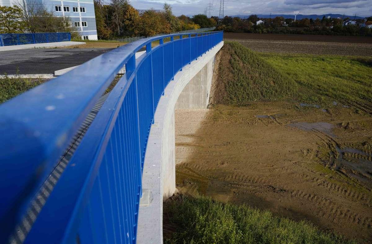 """Diese Brücke in Ladenburg steht einfach nur """"so da"""". Noch ist sie nicht an den Verkehr angeschlossen, das soll erst in ein paar Jahren kommen. Foto: dpa/Uwe Anspach"""