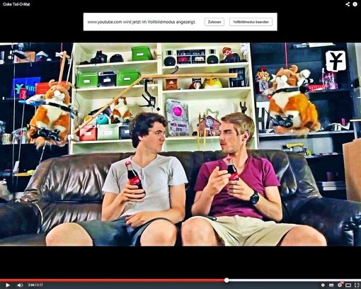 Nach getaner PR-Arbeit : die Jungs von Y-Titty  in ihrem  Brause-Video. Foto: Youtube