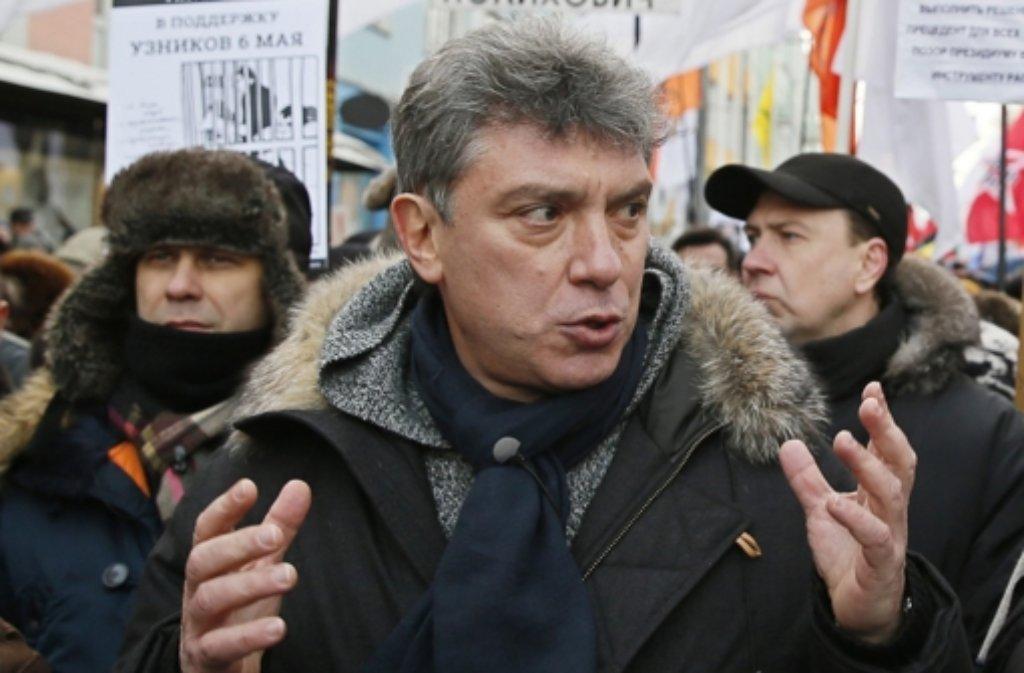 Am späten Freitagabend war der russische Oppositionelle Boris Nemzow in Moskau erschossen worden. Politiker aus dem In- und Ausland sind schockiert. Foto: EPA FILE