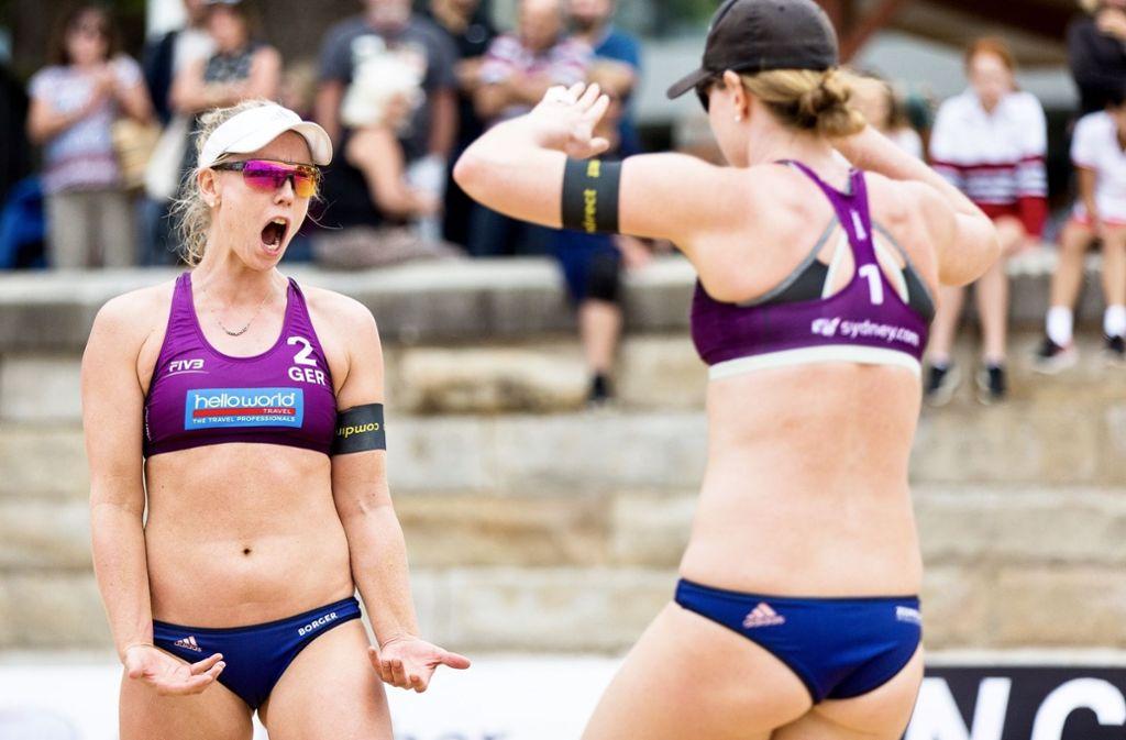 Beachvolleyballerin Karla Borger (li.) spielt in dieser Saison zusammen mit Julia Sude. Foto: StZN