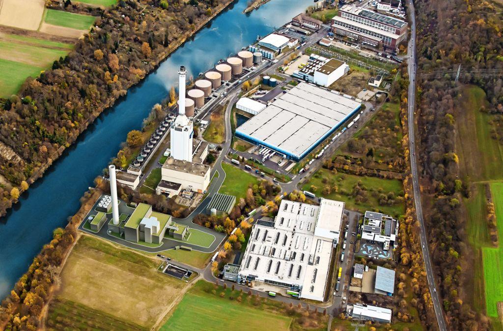 Neben dem bestehenden Kraftwerk wird eine neues (im Vordergrund) gebaut. Die Inbetriebnahme ist für den Oktober 2022 geplant. Foto: EnBW