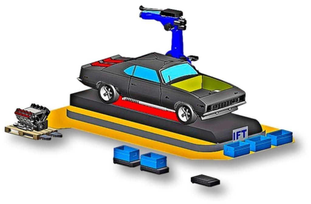 Alles Selbstfahrer: links liefert dasDoppelkufensystem eine  Palette mit Motorblock an, in den blauen Boxen werden die Kleinteile gebracht, auch die gelbe Plattform ist mobil. Foto: IFT