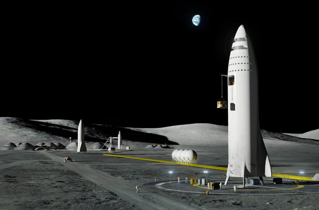 """Die von dem Raumfahrtunternehmen SpaceX zur Verfügung gestellte Computergrafik zeigt ein geplantes Raumschiff und die """"Mars City"""" auf dem Mars. Foto: Press Association Images"""