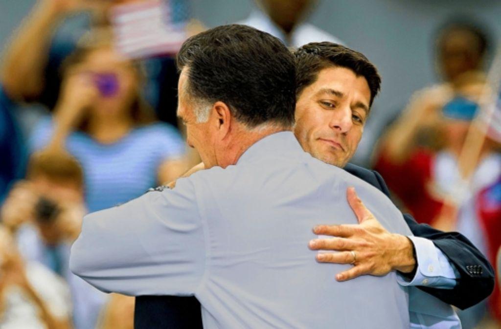 Der jungenhafte Ryan (rechts) soll das hölzerne Auftreten des Präsidentschaftskandidaten Romney kaschieren. Foto: imago