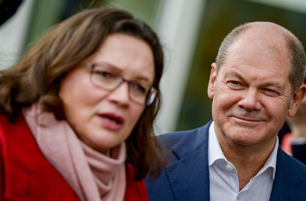 Immerhin die Personalsuche verlief weitgehend unfallfrei. Andrea Nahles und Olaf Scholz, das neue Duo an der Spitze der SPD funktioniert. Foto: dpa