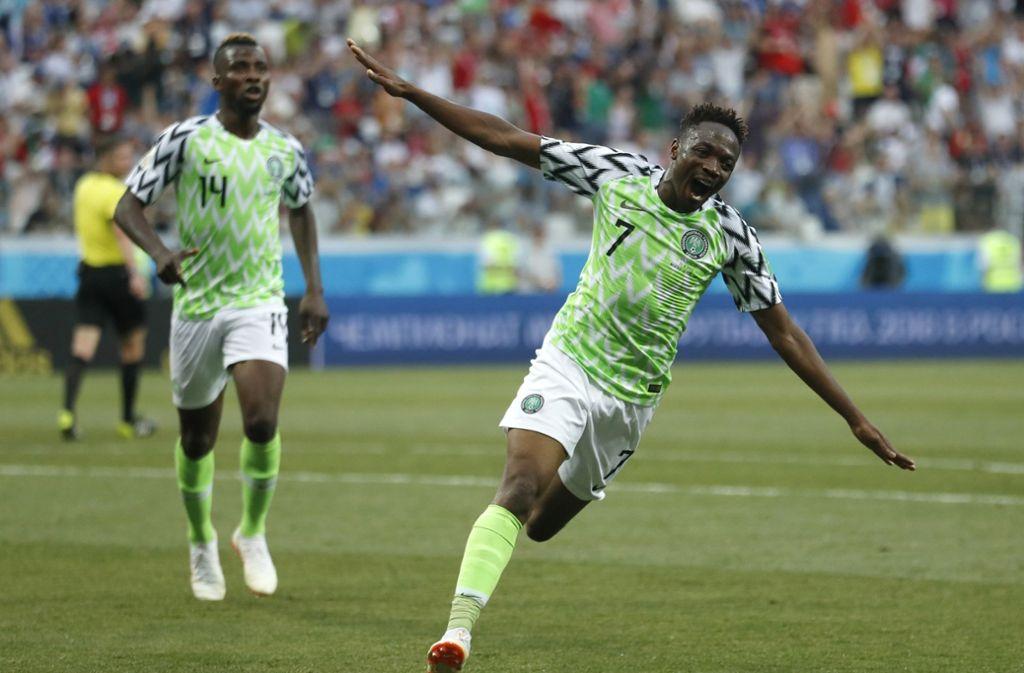 """Ahemd Musa war der """"Man of the Match"""" im Spiel Nigeria gegen Island. Foto: AP"""