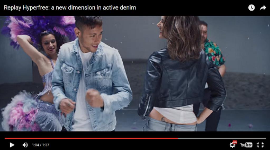 Sexy: Neymar und Alessandra Ambrosio führen die neuen Replay-Jeans beim Tanzen vor. Foto: Screenshot Replay