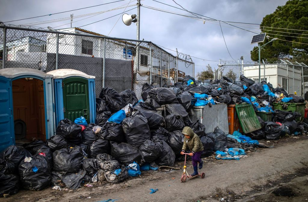 Das Flüchtlingslager Moria auf der griechischen Insel Lesbos. Foto: dpa/Angelos Tzortzinis