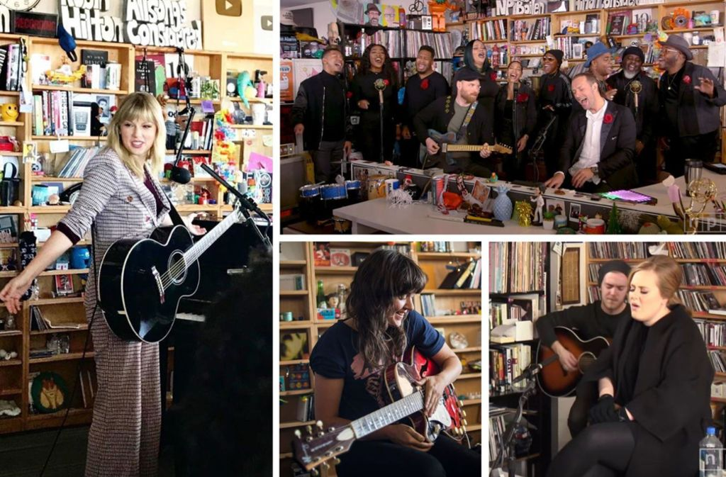 Taylor Swift, Coldplay, Adele und Courtney Barnett haben schon an Ben Boilens Schreibtisch Konzerte gegeben. Welche Auftritte Sie sich unbedingt anschauen sollten, verraten wir in unserer Bildergalerie. Foto: NPR/Youtube