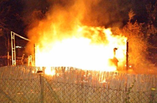 In Merklingen brennt ein Gartenhaus