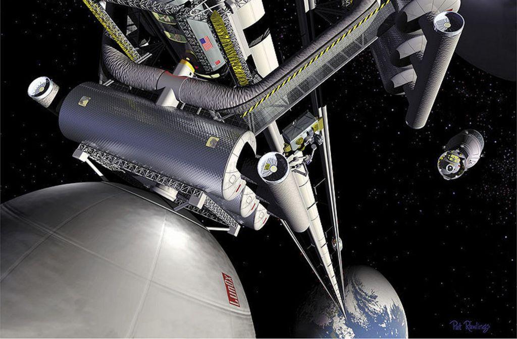 Künstlerische Darstellung eines Weltraumliftes der US-Weltraumbehörde Nasa. Foto: Nasa/Pat Rawlings