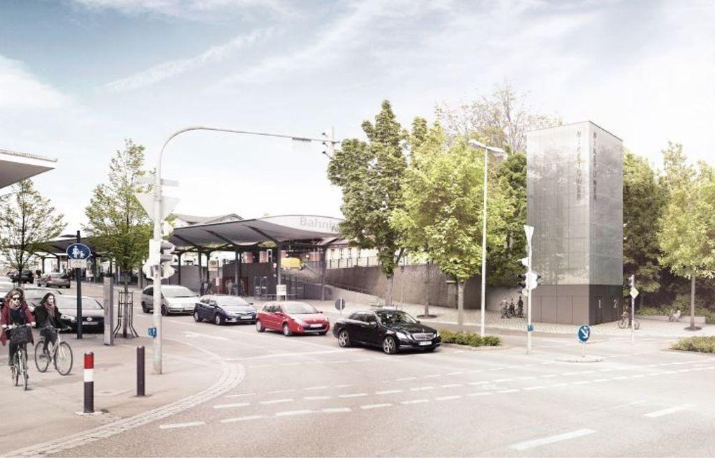 Baubürgeremeisterin Beatrice Soltys ist sich sicher, dass der Fahrrad-Turm ein Markenzeichen für den Bahnhof Fellbach werden wird. Foto: Reinraum GmbH