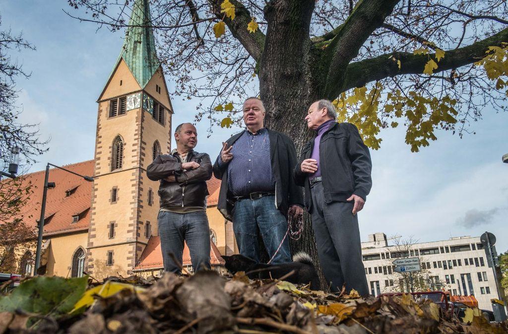 Axel Heldmann, Heinrich-Hermann Huth und Heinz Rittberger wollen zwei Viertel wiedervereinen. Foto: Lichtgut/Max Kovalenko